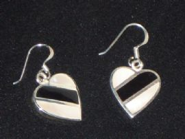 Little Shell and Silver Heart Earrings on Silver Earwires
